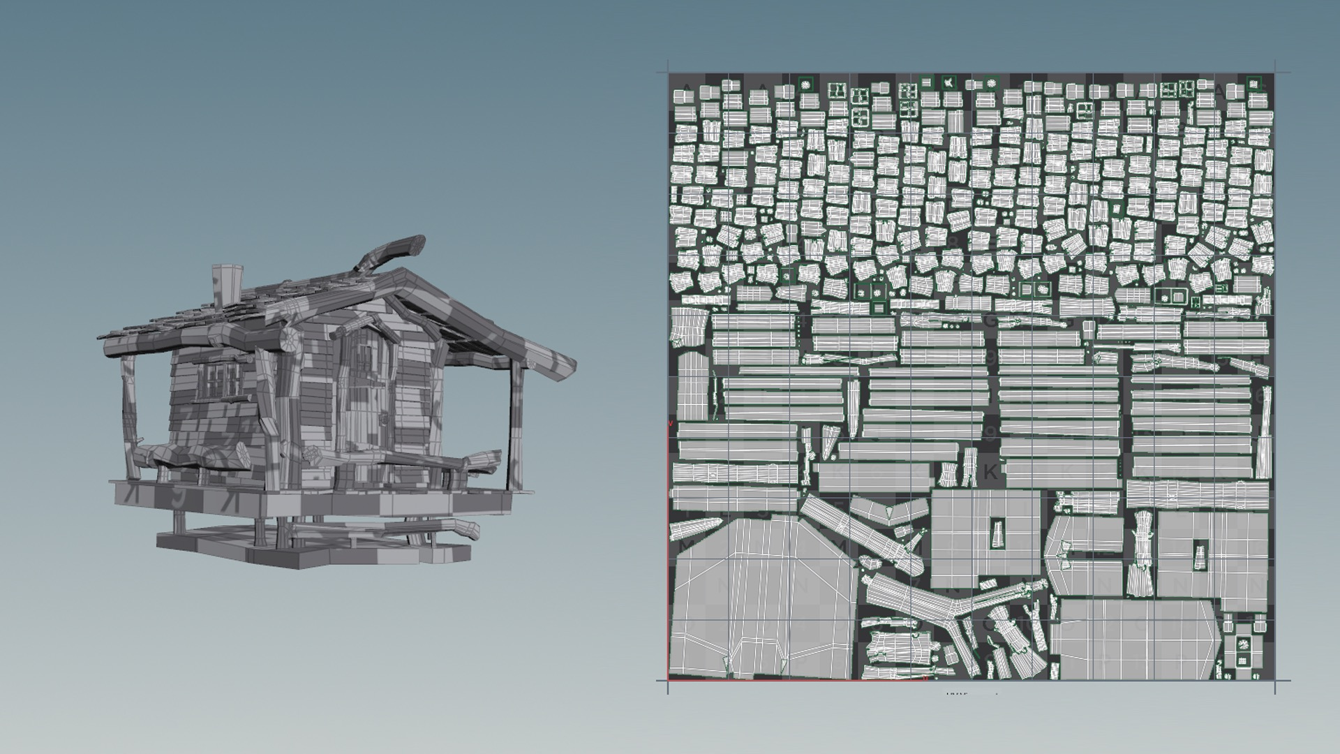 Figure 9: Example of one of the cabins run through Houdini's Auto UV SOP. The cabin is on the left; the output UVs are on the right.