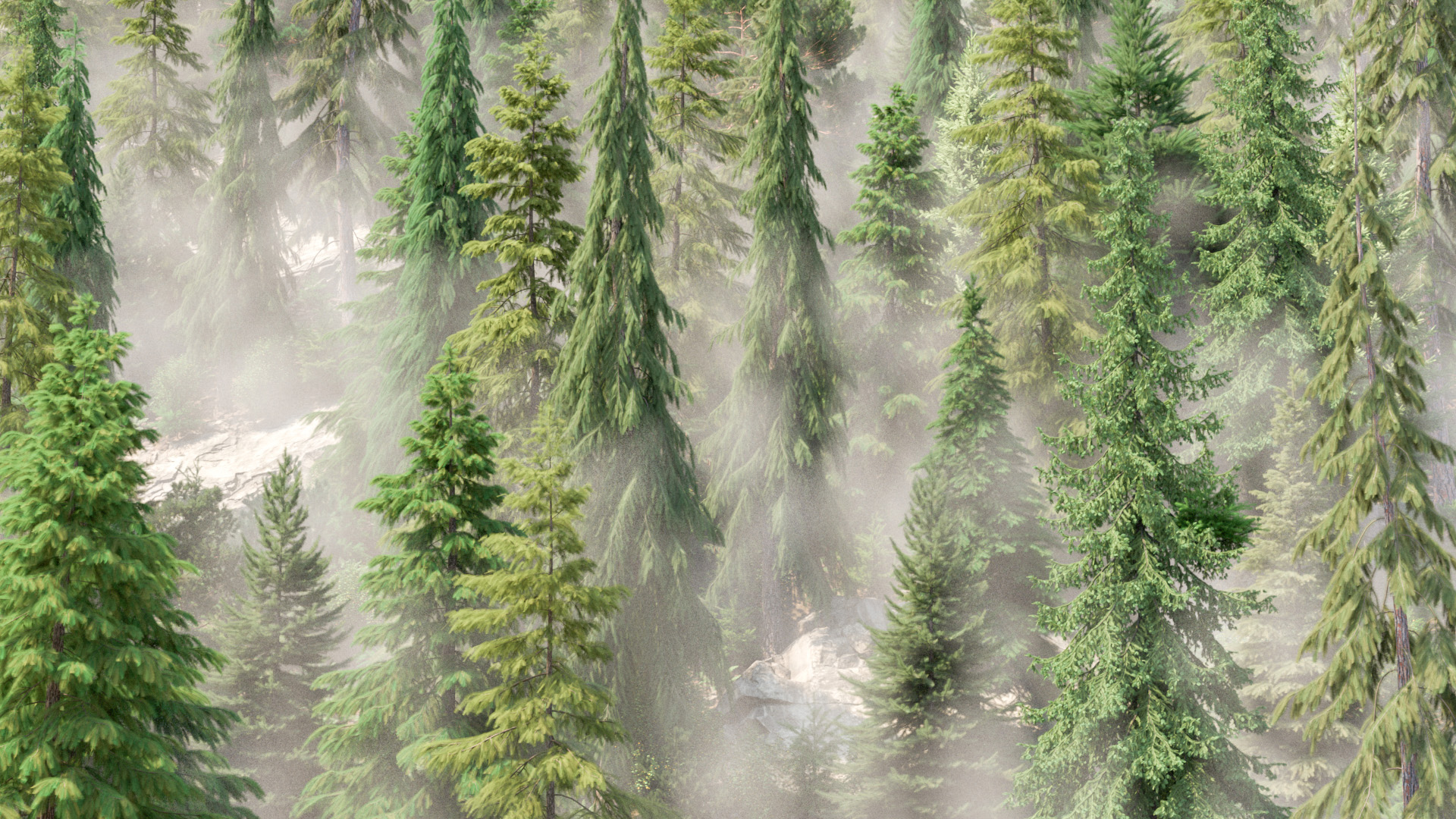Figure 18: In-progress test render of the background forest with an initial version of mist and fog.