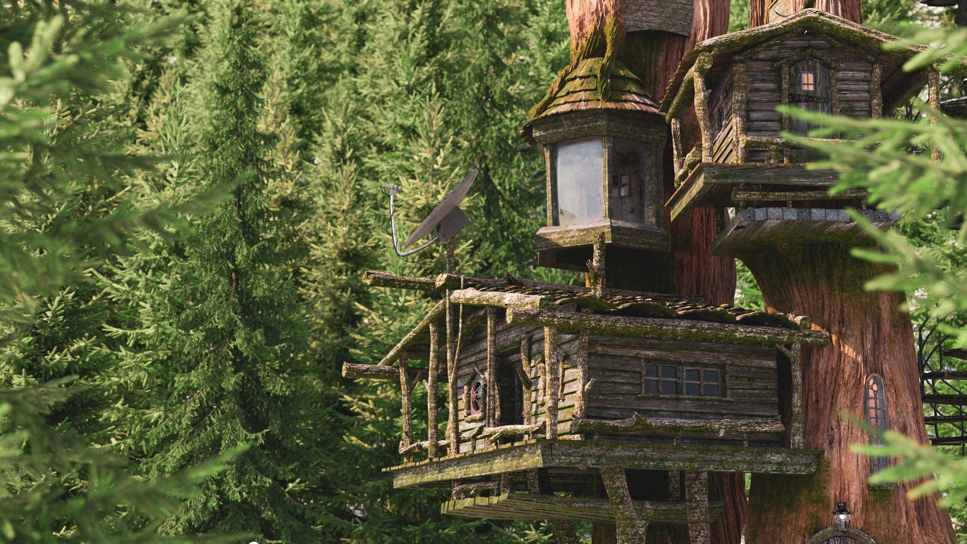 Figure 12: In-progress test render with initial fully shaded treehouse, along with geoemtric modifications. Click for 4K version.