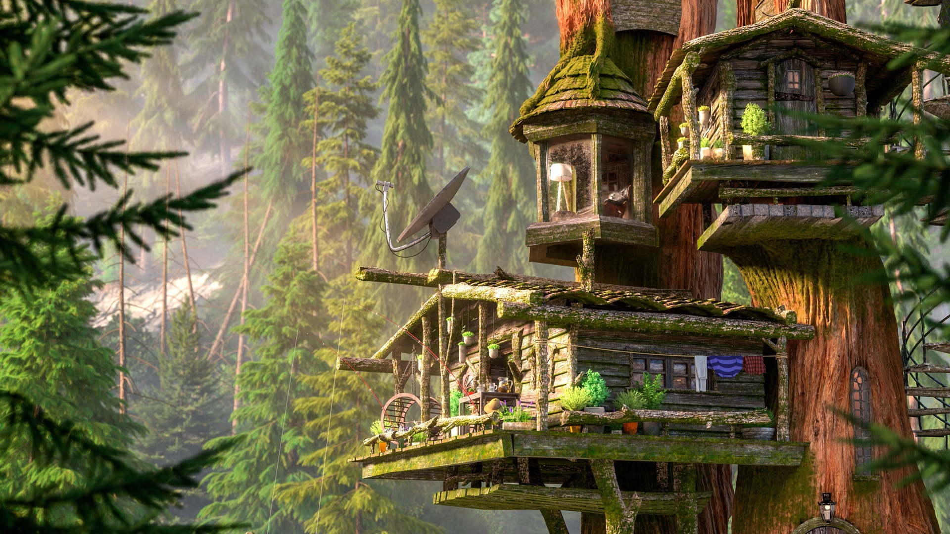 "Figure 1: My entry to Pixar's RenderMan Woodville Art Challenge. Base treehouse model is from Pixar; all shading, lighting, additional modeling, and environments are mine. Concept by Vasylina Holod. Model by Alex Shilt © Disney / Pixar - RenderMan ""Woodville"" Art Challenge."