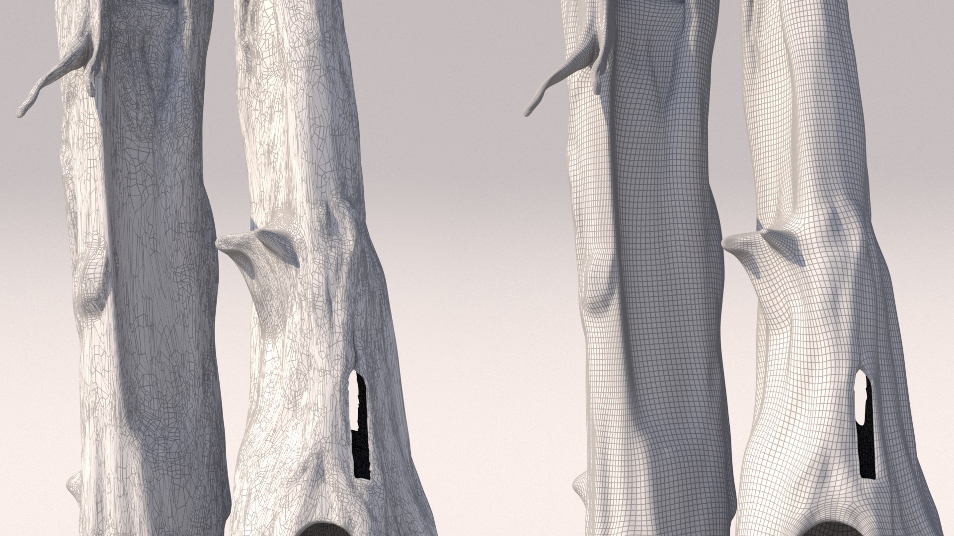 Figure 7: Original mesh wireframe on the left, my retopologized version on the right.