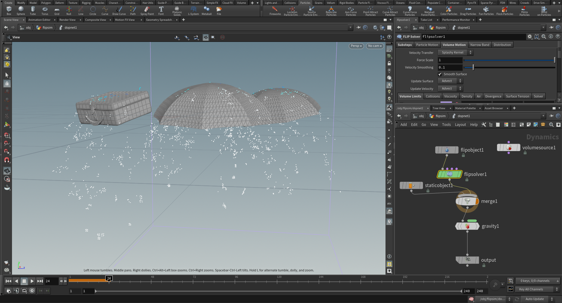 """Figure 40: Using a FLIP simulation in Houdini to create some """"hero"""" rain droplets running off of the umbrella canopies and suitcase."""