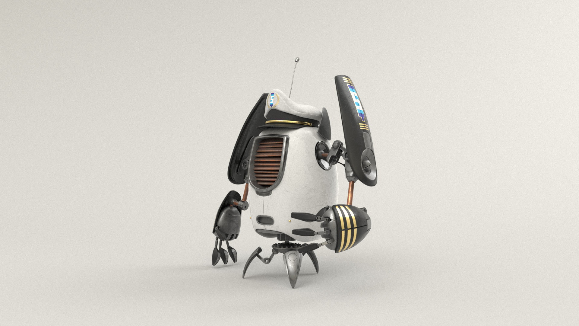 Figure 21: Captain robot with a white and black and gold color scheme and an even fancier hat.