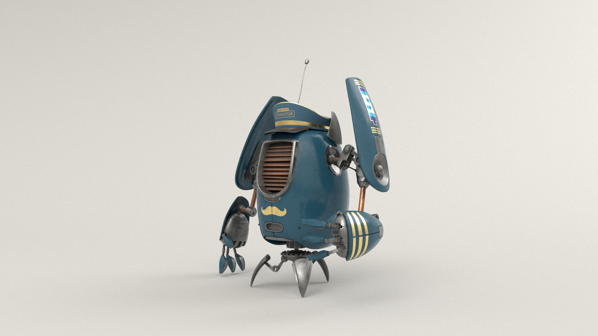 Figure 20: Conductor robot with a blue and gold color scheme and a hat!