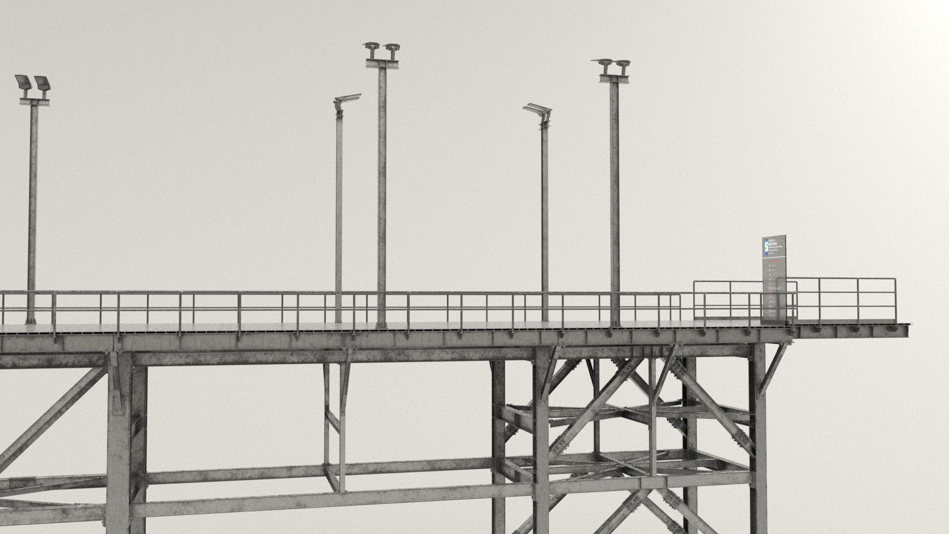 Figure 33: Shading test for the dock, with wet effect applied. The lampposts are in a different orientation compared to where they are in the final scene.