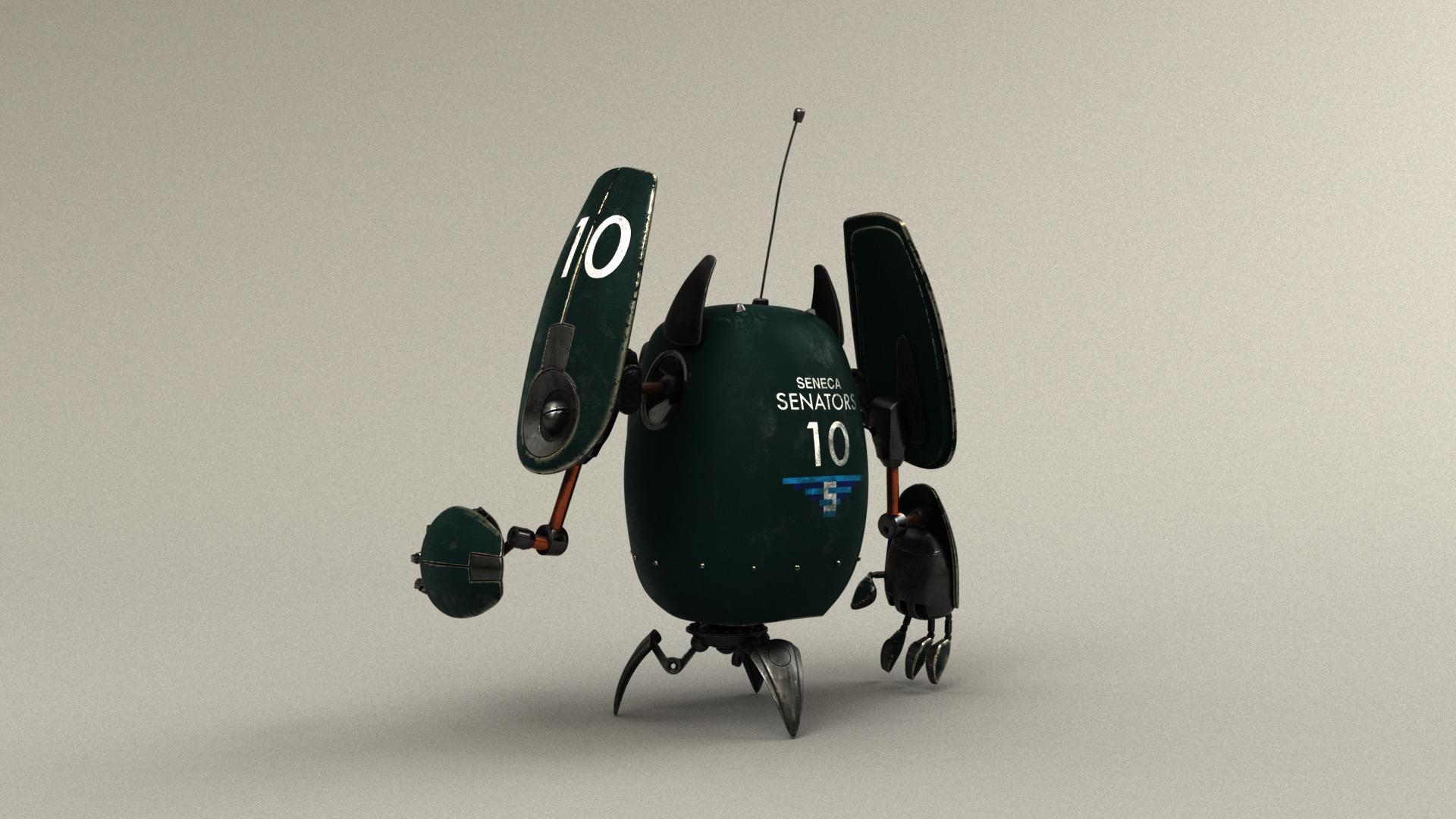 Figure 19: Sports fan robot wearing the colors of the in-world team, the Seneca Senators.