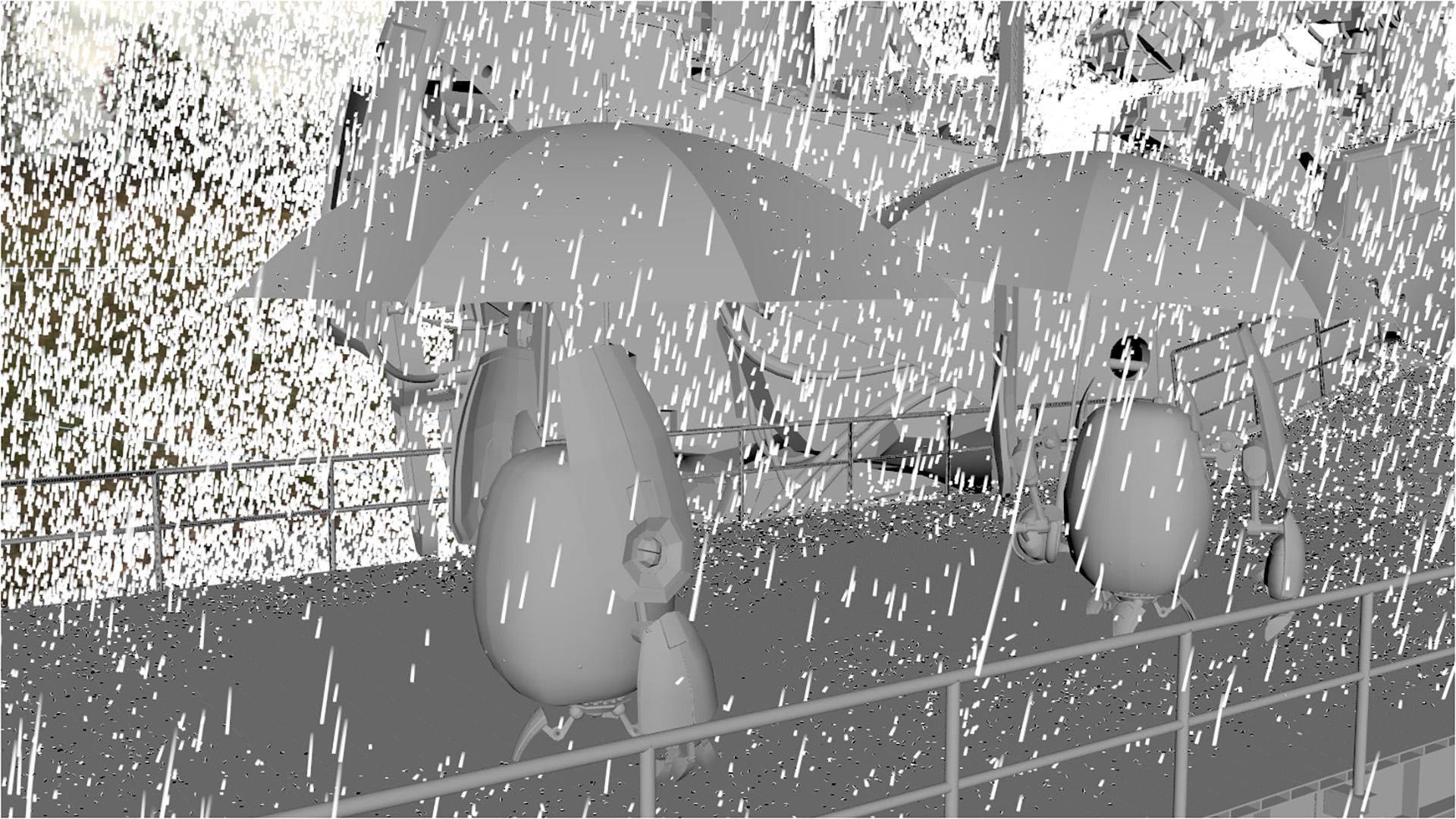 Figure 39: Closeup of a work-in-progress version of the rain sim. Note how the umbrellas properly block rain from falling on the robots under the umbrellas.