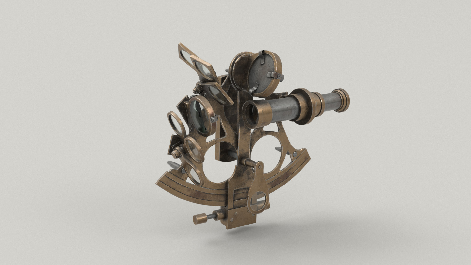 Figure 37: Quick n' dirty lookdev test of the sextant. Model is by Aliyah Chen and was provided by Pixar as one of the contest's base models.