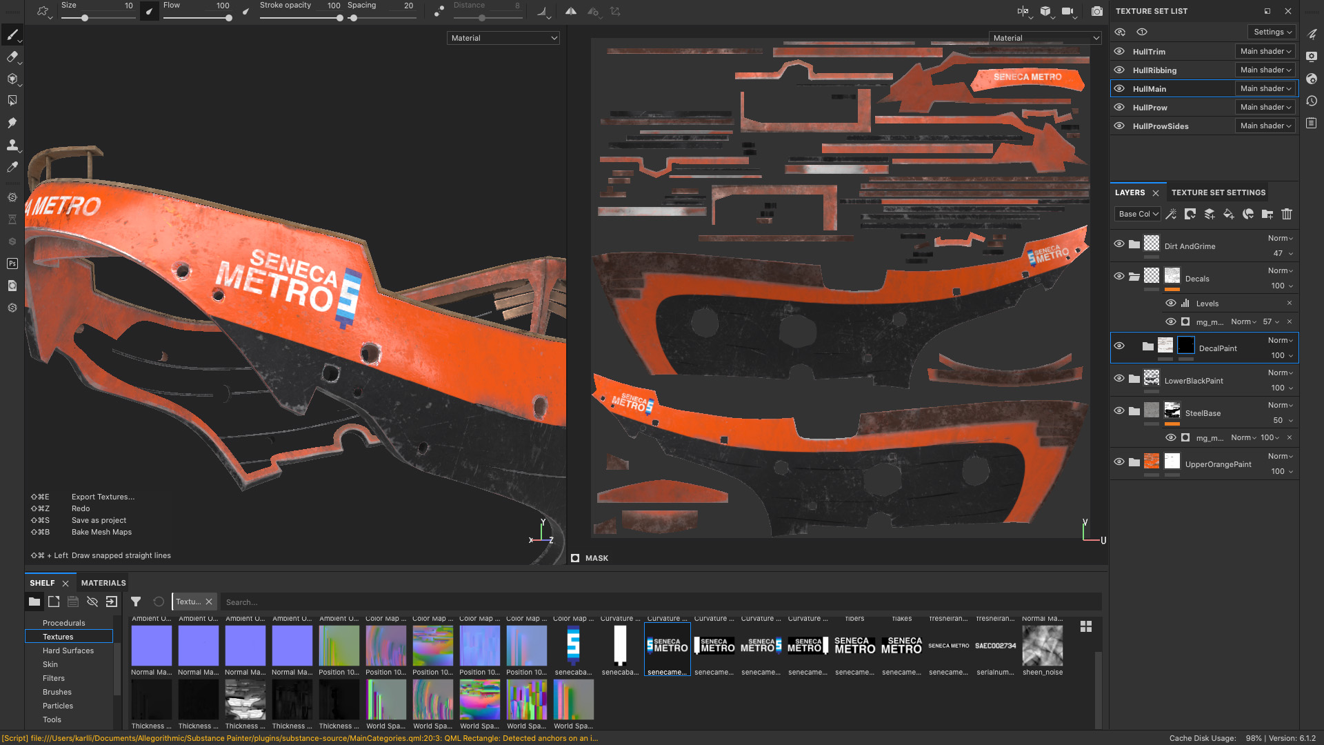 Figure 11: Texturing the main piece of the ship's hull in Substance Painter.