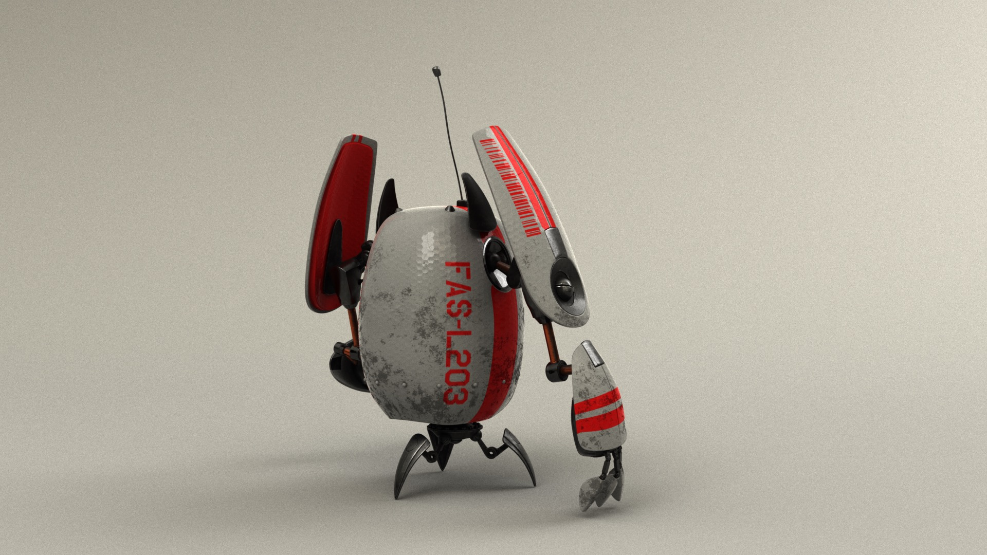 Figure 18: Futuristic robot with glossy white outer shell and red accents.