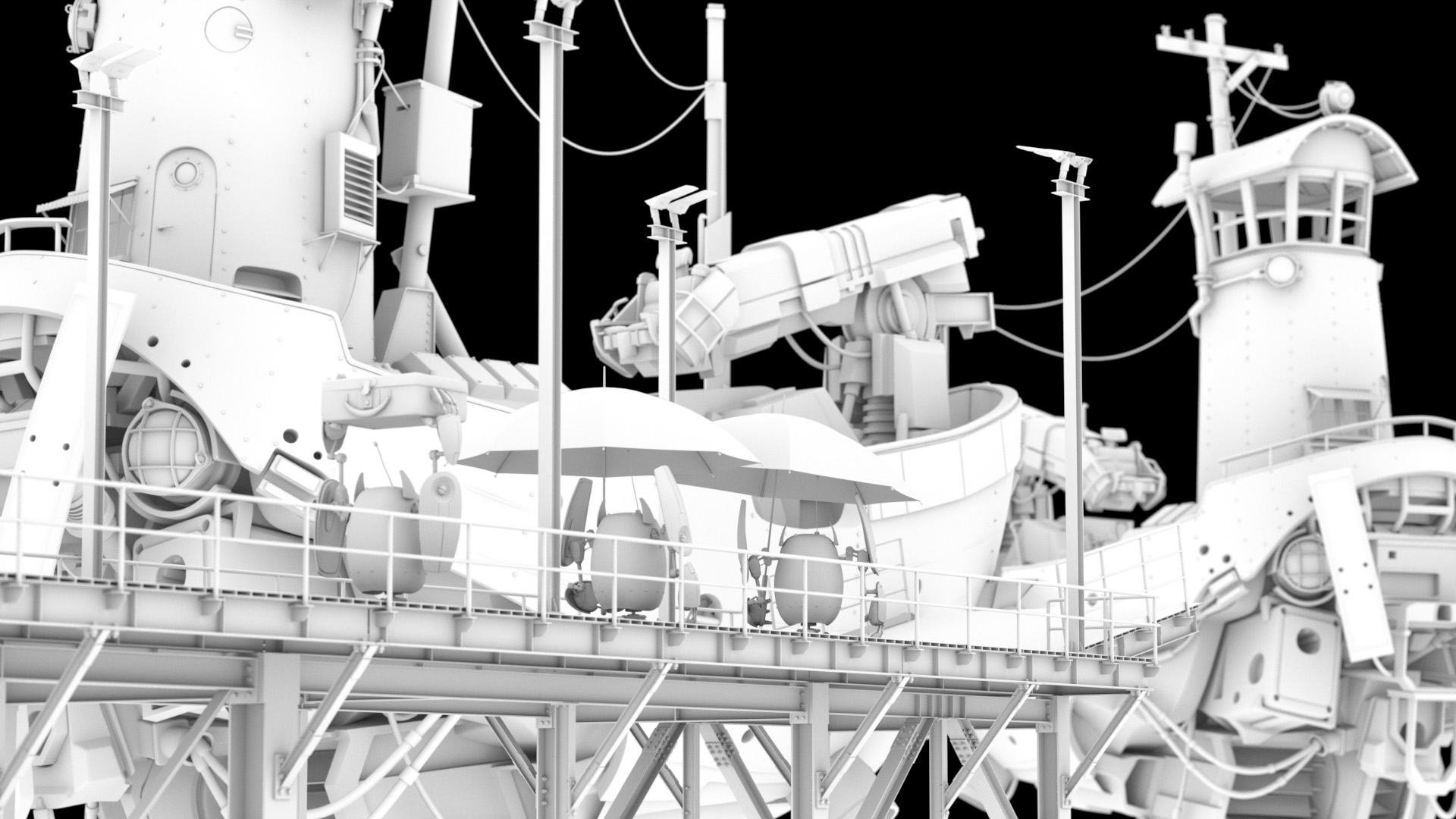 Figure 8: AO render of my layout going into shading and lighting. Check out all of the crazy detail on the dock that I modeled!