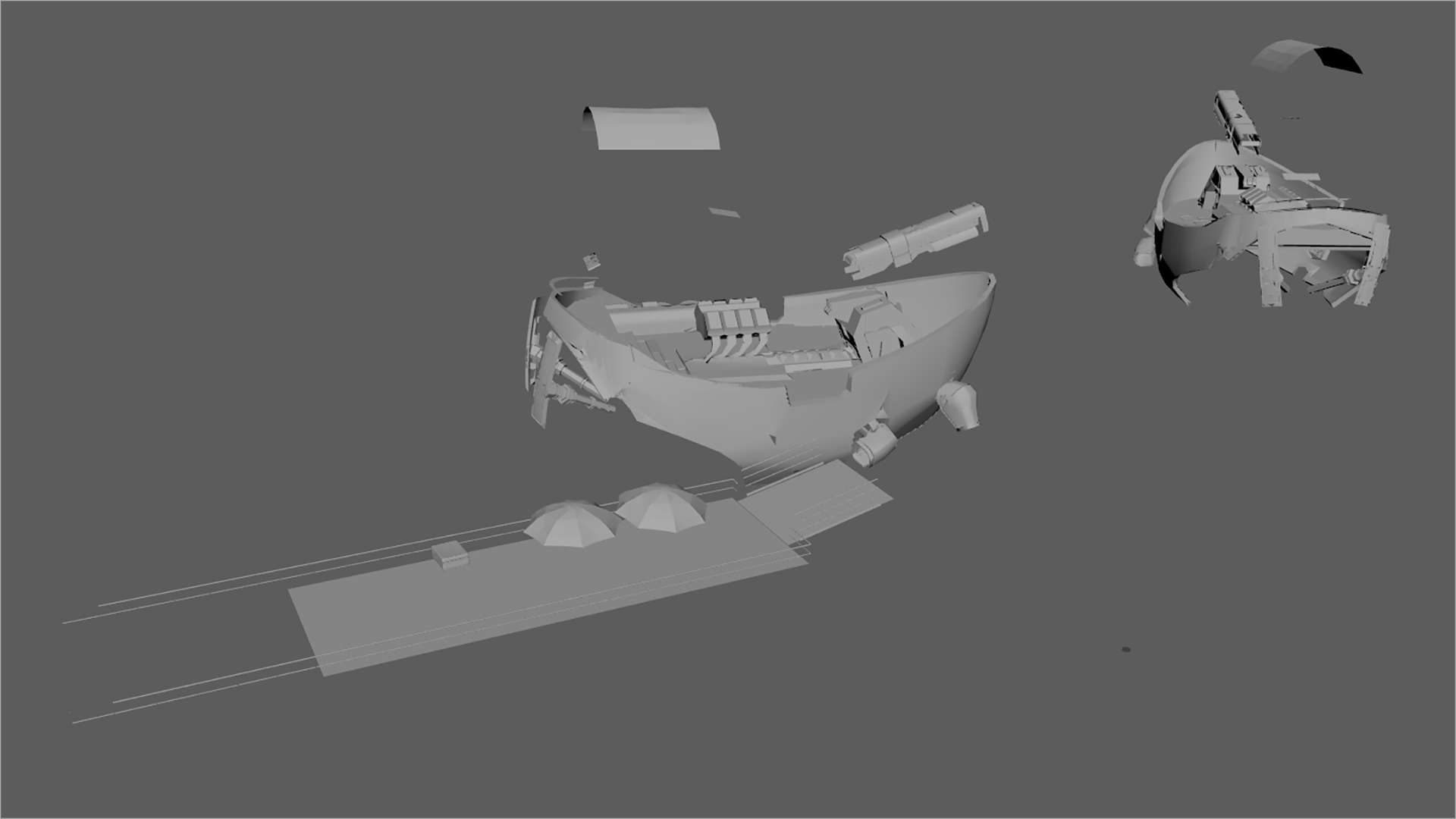 Figure 38: The proxy mesh I used for the rain nParticles sim. This is an earlier version of the proxy mesh before I settled on final scene geometry; the final sim was run with an updated proxy mesh made from the final scene geometry.