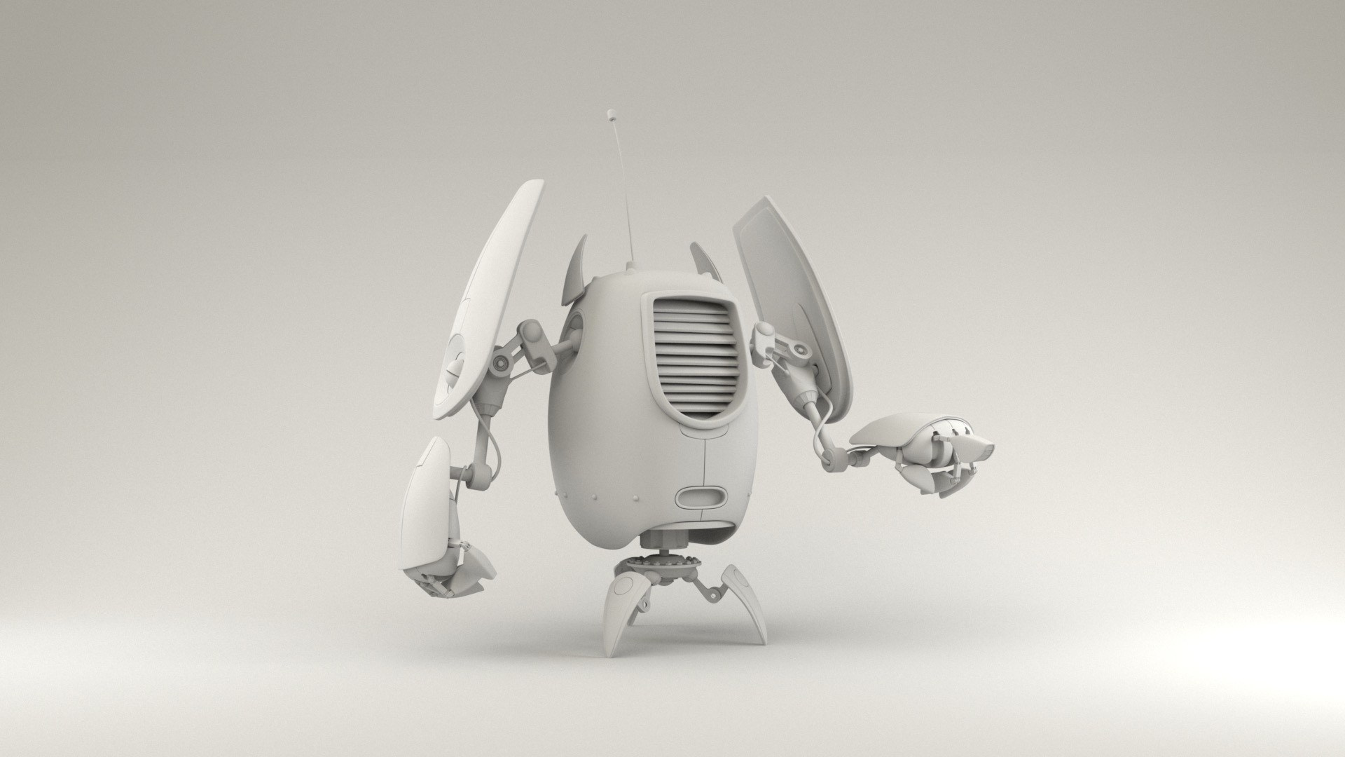 Figure 3: Robot base model provided by Pixar, rendered against a white cyclorama background using a basic skydome.
