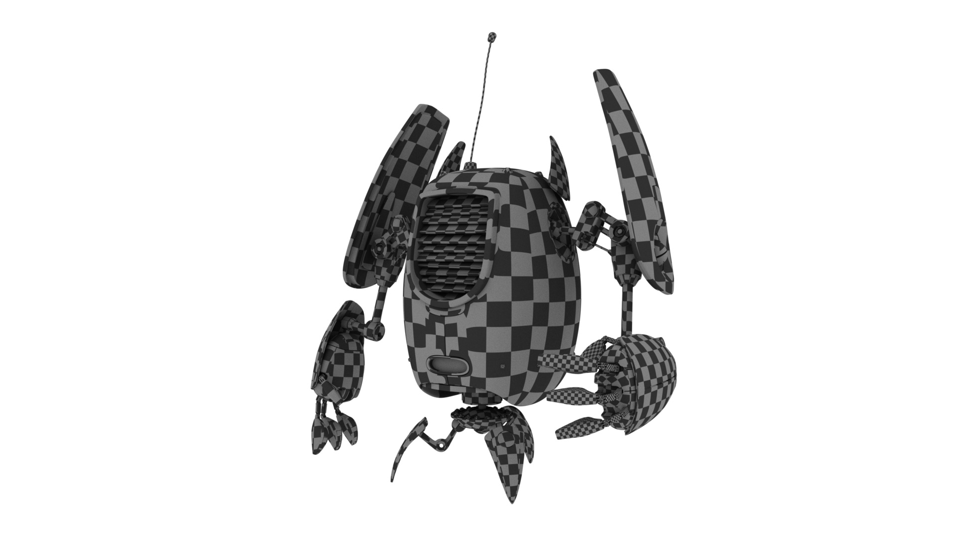 Figure 10: Checkerboard test for my UV unwrapping of the robot.