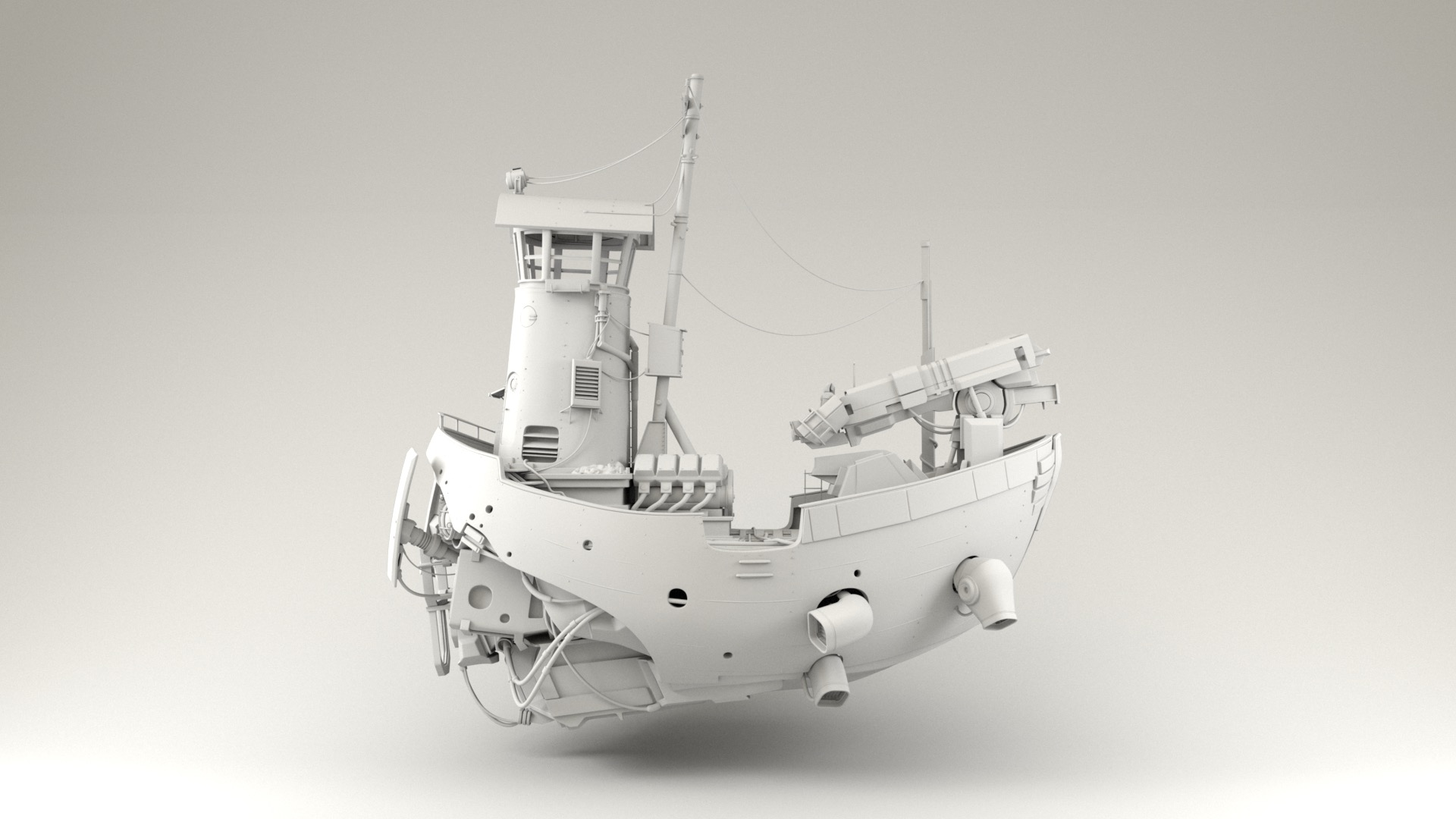 Figure 2: Scifi ship base model provided by Pixar, rendered against a white cyclorama background using a basic skydome.