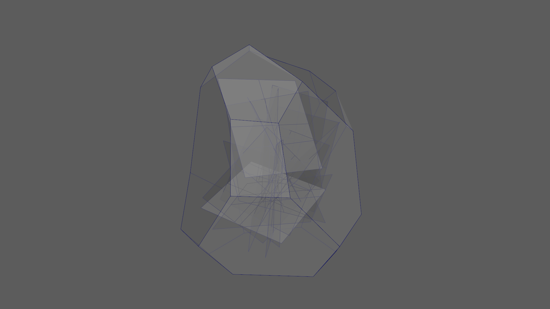 Figure 24: Wireframe of the crystal's internal geometry with crumpled up quads.