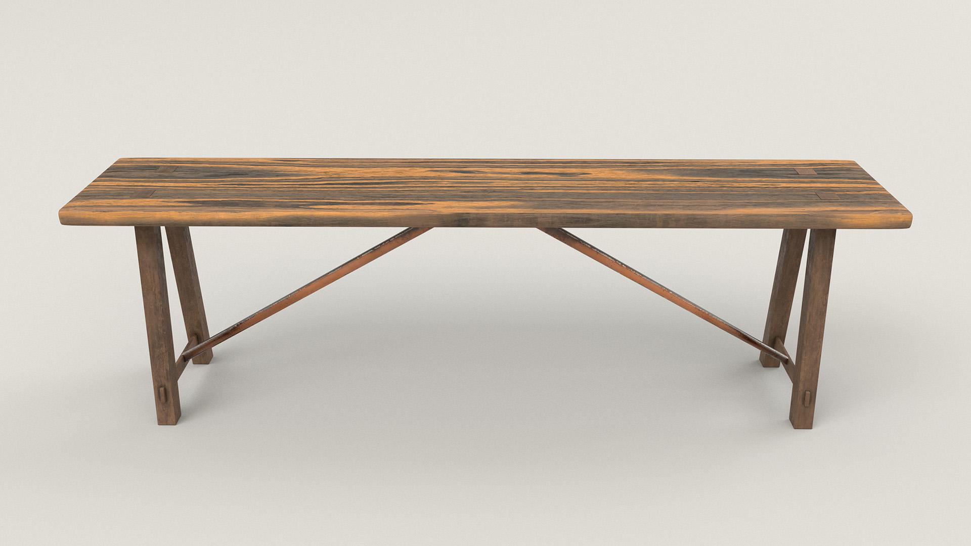 Figure 15: Bench with dark wood legs, metal diagonal braces, and lighter wood top.