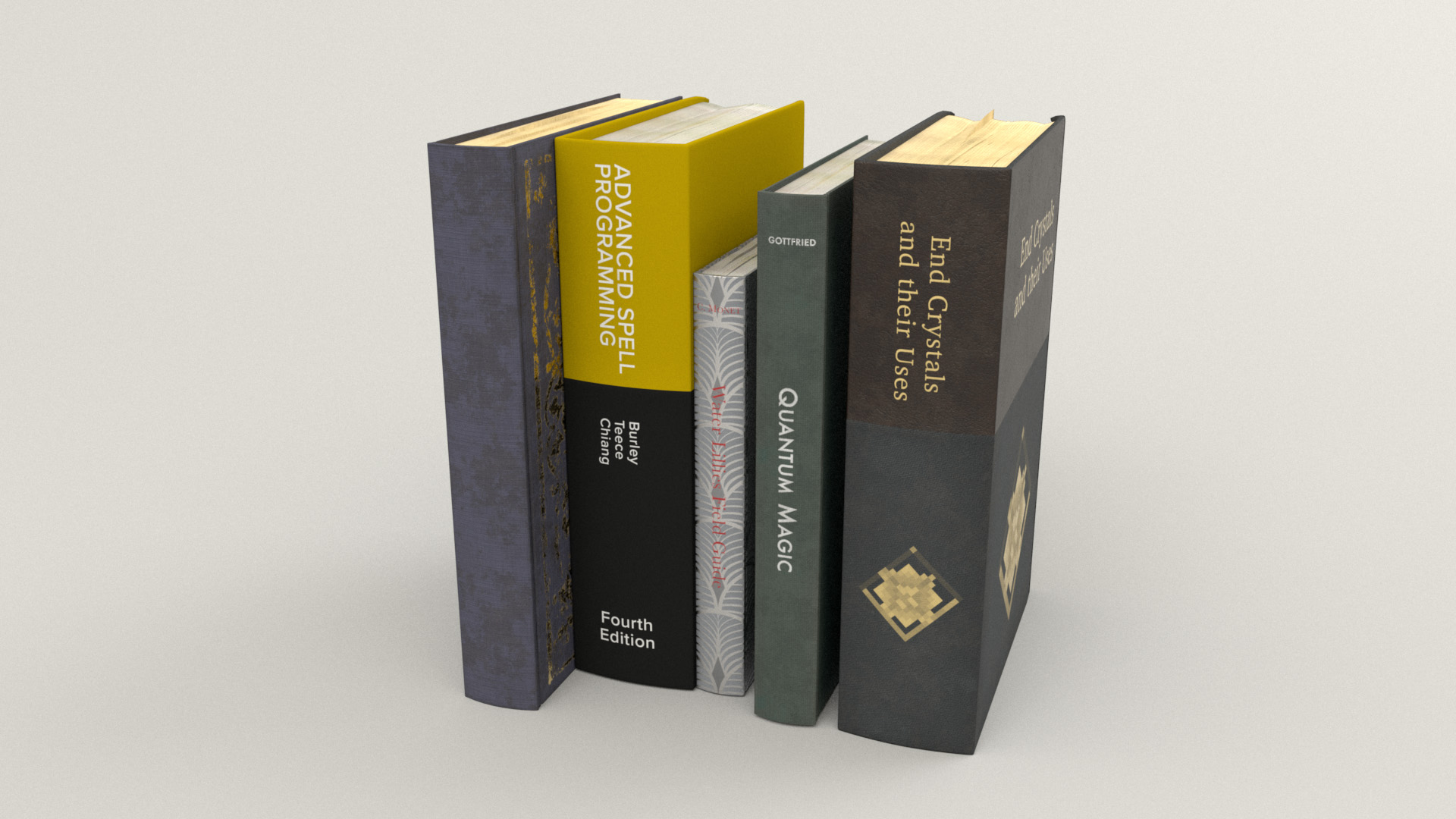 Figure 35: Each one of these textbooks is a play on something I have on my home bookshelf.