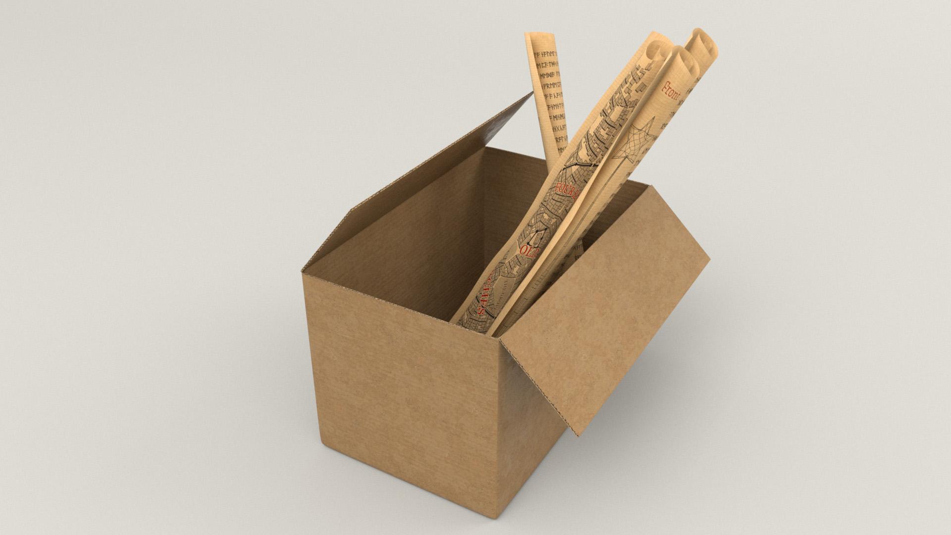 Figure 17: Corrugated cardboard box containing technical magic scrolls and maps.