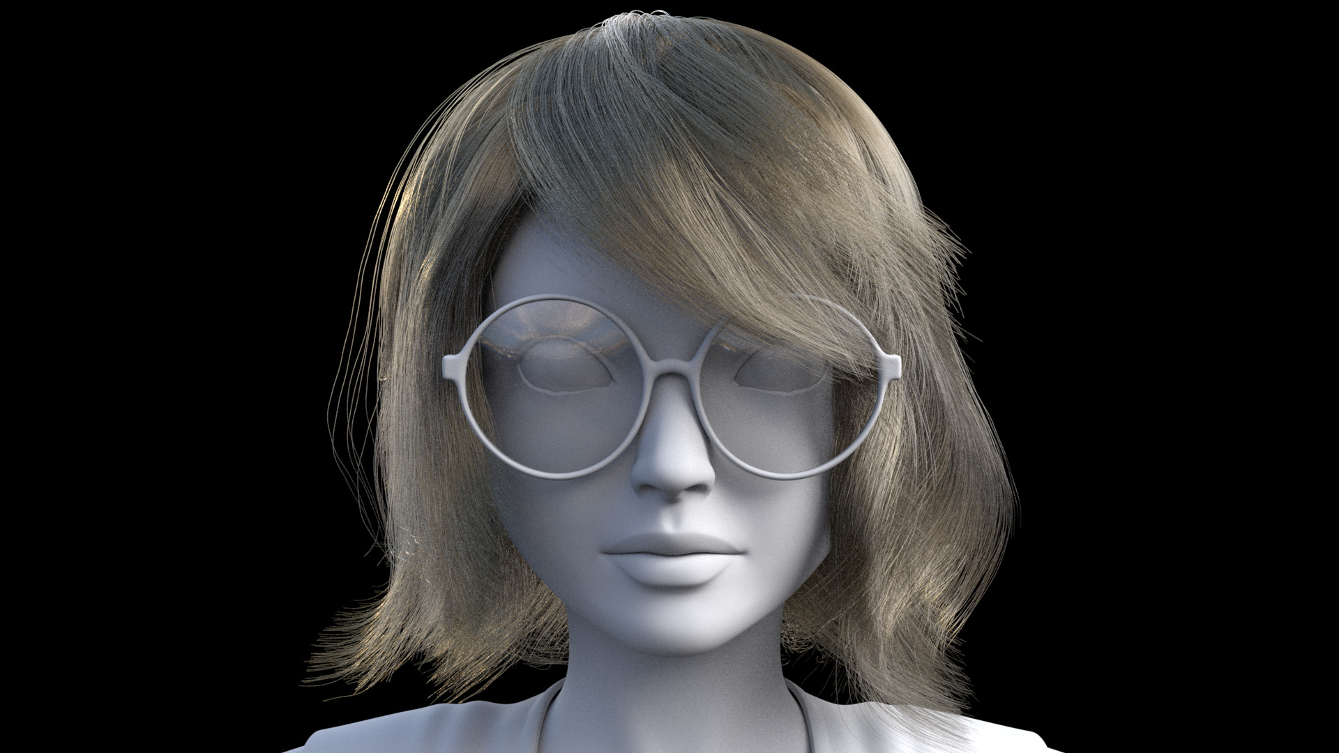 Figure 2: Early iteration of a custom hair groom for the character, with placeholder glasses.