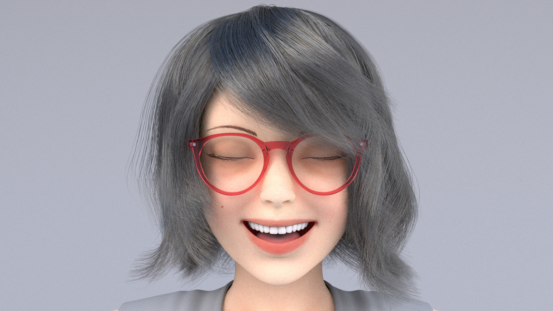 Figure 4: More progressed iteration of a custom hair groom for the character, with final glasses.