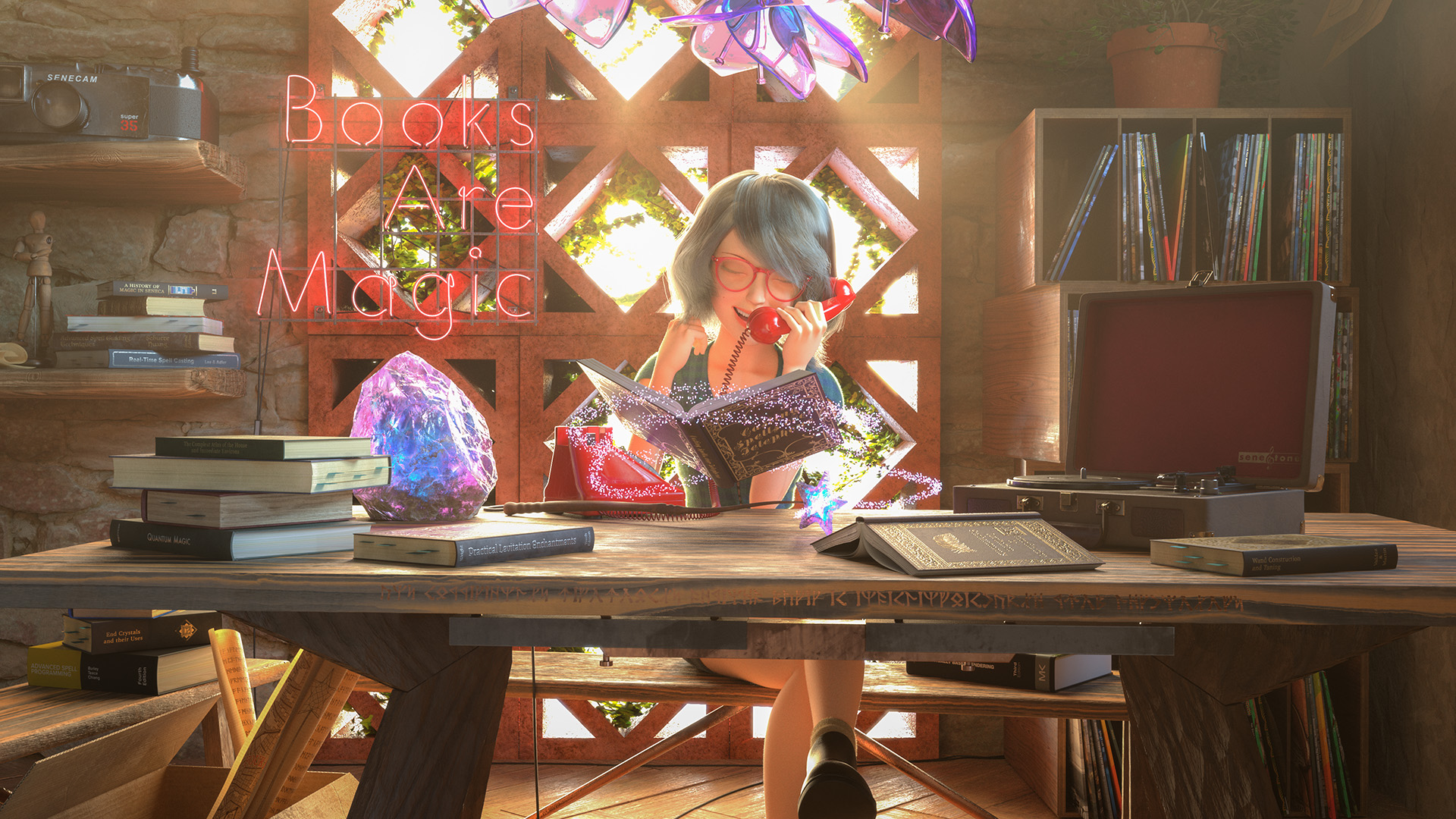 """Figure 1: My entry to Pixar's RenderMan Magic Shop Art Challenge, titled """"Books are Magic"""". Click for 4K version. Mathilda model by Xiong Lin and rig by Leon Sooi. Pixar models by Eman Abdul-Razzaq, Grace Chang, Ethan Crossno, Siobhán Ensley, Derrick Forkel, Felege Gebru, Damian Kwiatkowski, Jeremy Paton, Leif Pedersen, Kylie Wijsmuller, and Miguel Zozaya © Disney / Pixar - RenderMan """"Magic Shop"""" Art Challenge."""