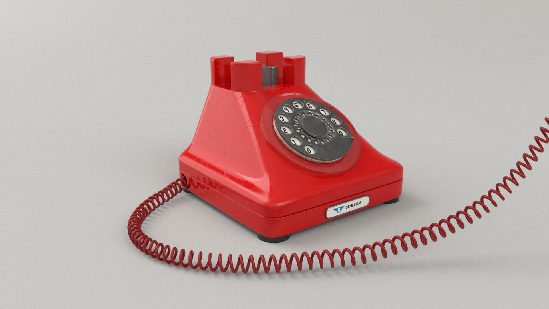 "Figure 28: ""Senecom"" phone set, with custom modeled curly cord."