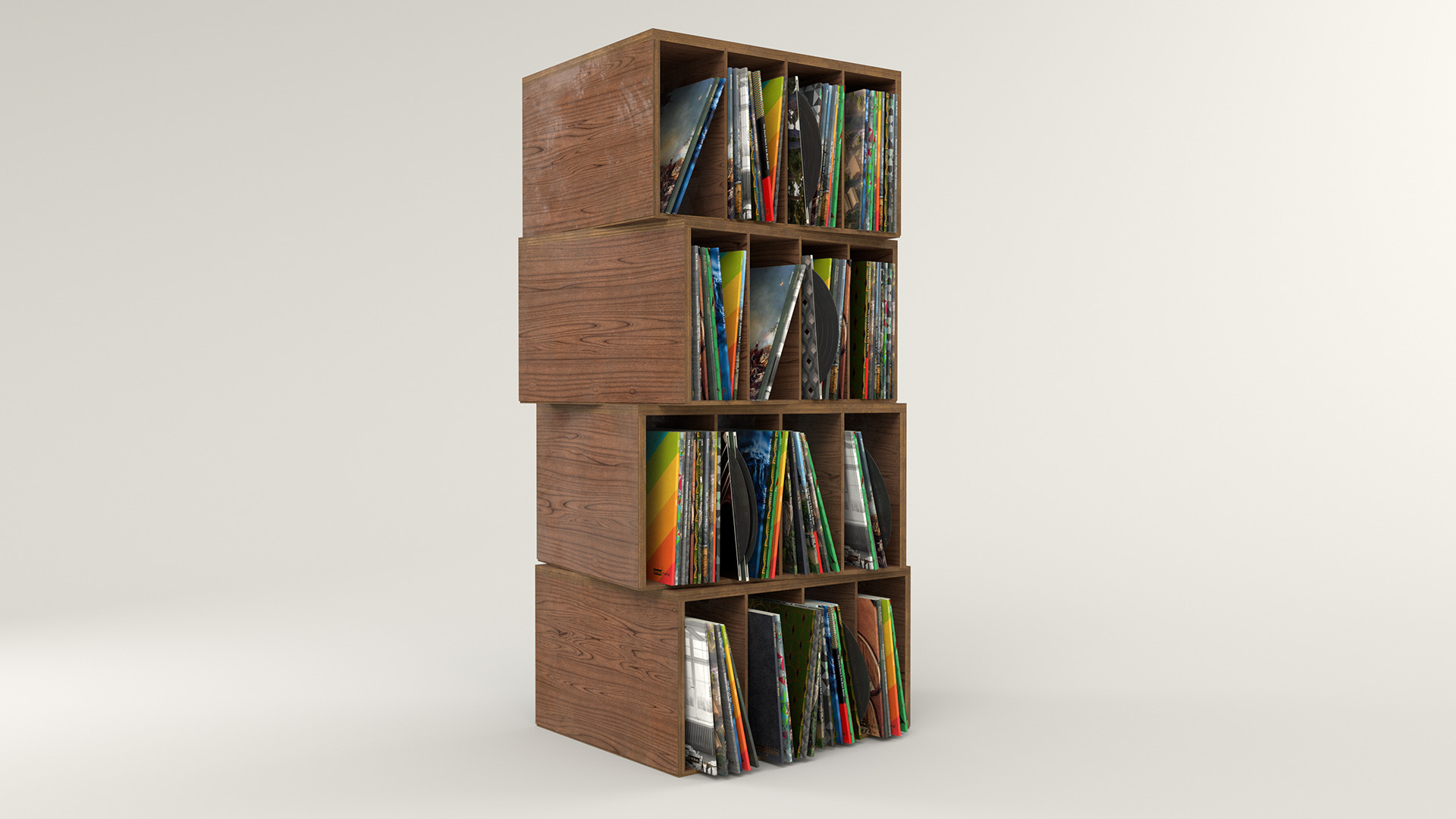 Figure 33: Record crates stack with randomized, custom album covers. Click through for a high-res 4K render if you want to see all of the little details.