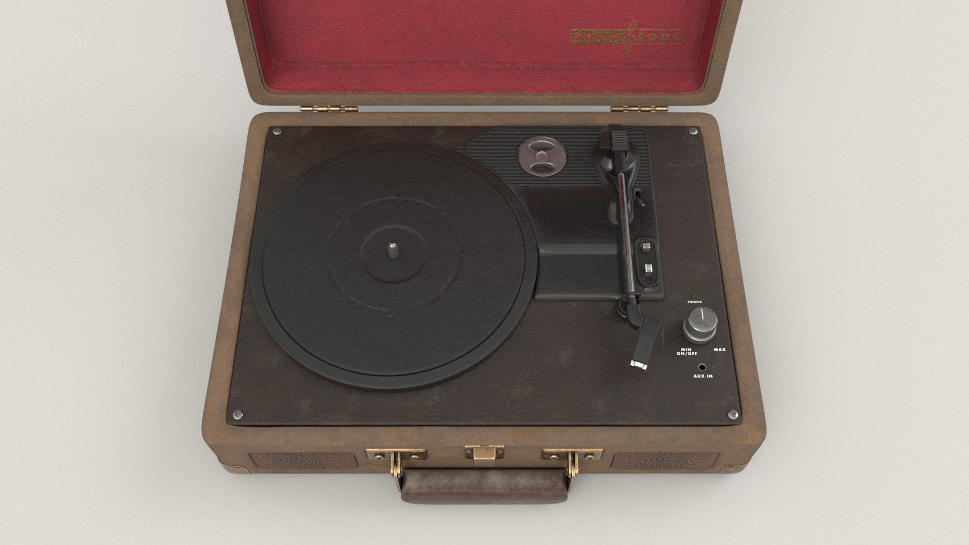 Figure 20: Close-up of the actual record player part of the briefcase.