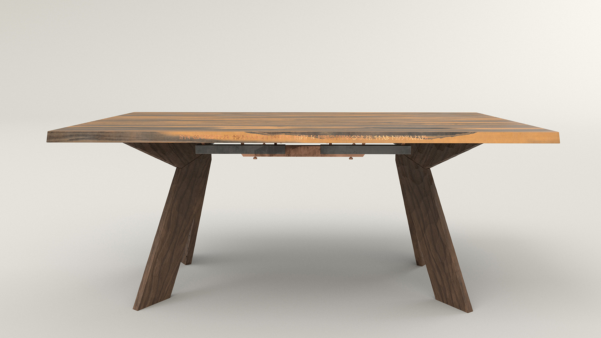 Figure 16: Main table with chiseled dark wood legs, a metal underframe, a lighter wood top, and gold inlaid runes on the side.