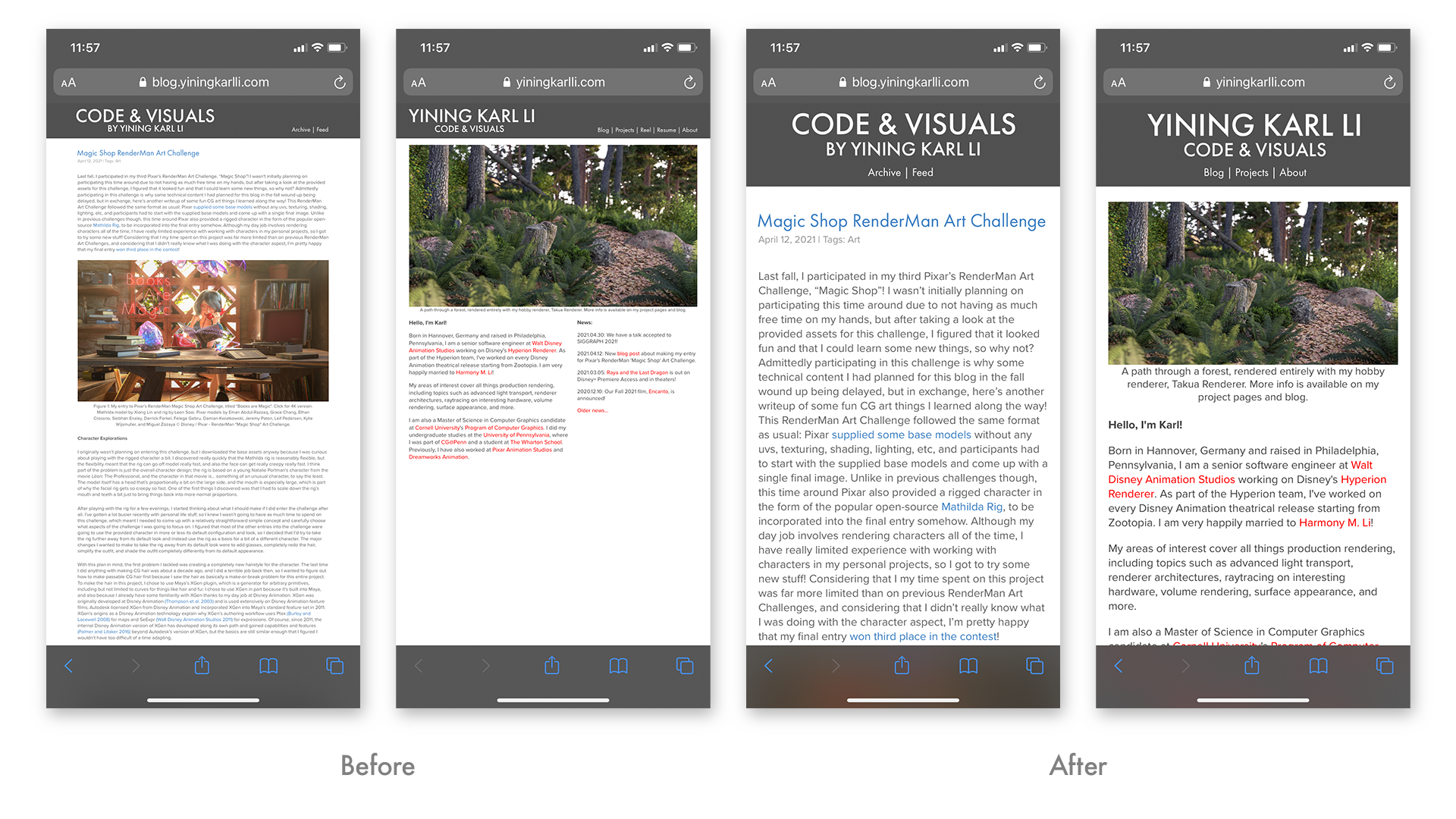 Figure 1: Old layout (left) vs. new responsive layout (right) in Safari on an iPhone 11.