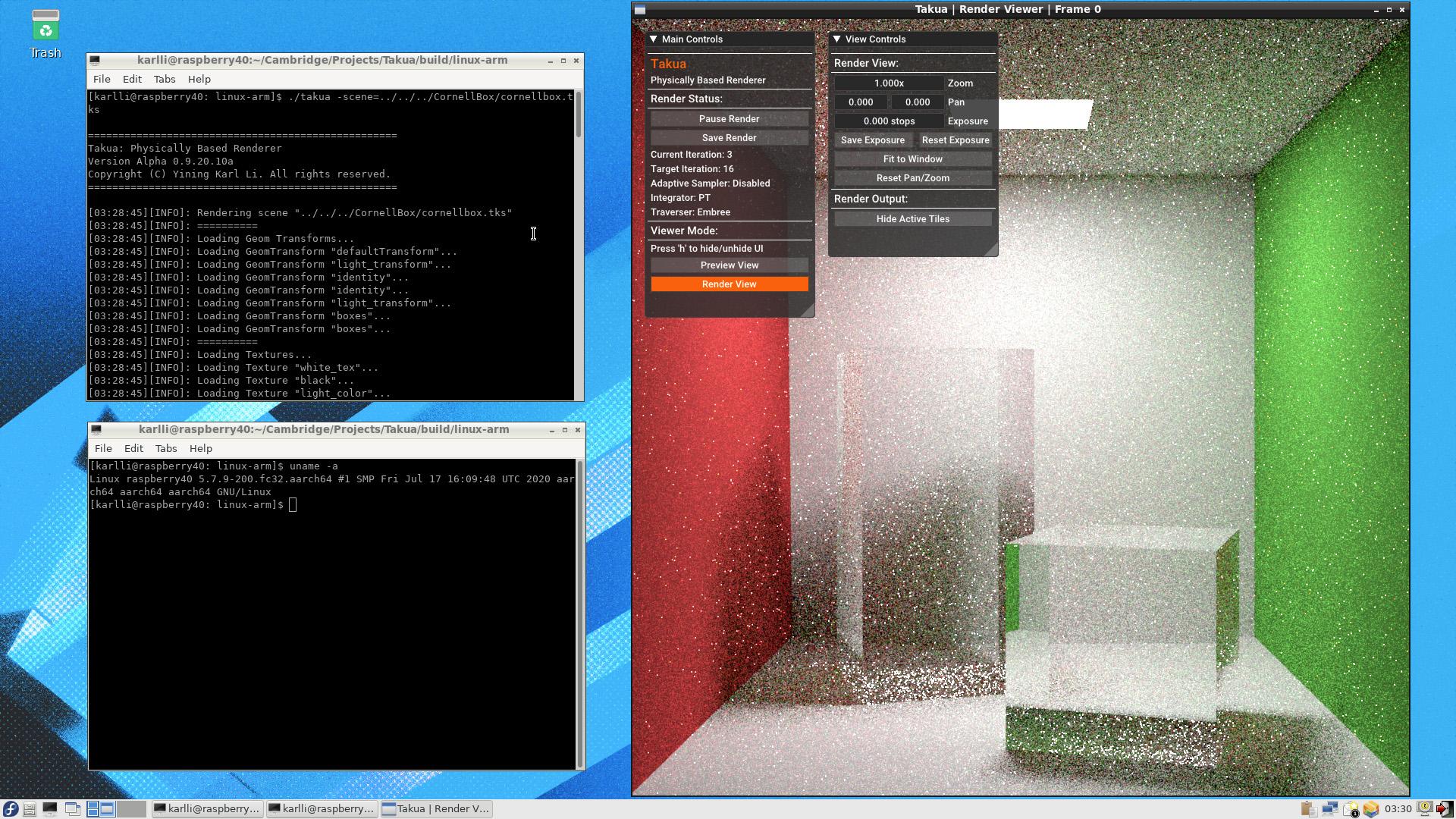 Figure 1: Takua Renderer running on arm64 Fedora 32, on a Raspberry Pi 4B.